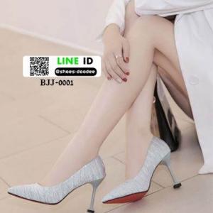 รองเท้าคัชชูส้นสูงหัวแหลมนำเข้า วัสดุผ้าซาติน BJJ-0001-GRY [สีเทา]
