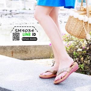 รองเท้าส้นเตี้ย พียู แบบหนีบ SM9034-BRN [สีน้ำตาล]