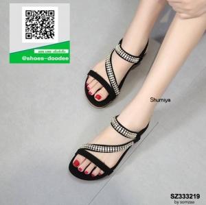รองเท้าแตะรัดส้นสีดำ แบบไขว้แต่งอะไหล่สวยงาม (สีดำ )