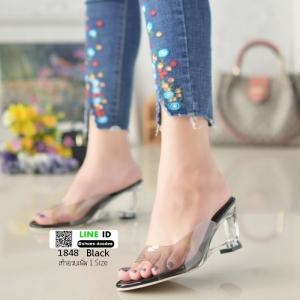 รองเท้าส้นสูง ส้นแก้ว 1848-ดำ [สีดำ]
