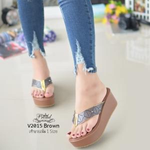 รองเท้าแตะทรงคีบสีน้ำตาล เปิดส้น ISSEY MIYAKE BAO BAO (สีน้ำตาล )
