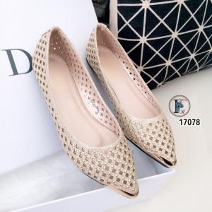 รองเท้าส้นแบนฉลุหัวทอง 17078-ทอง [สีทอง]