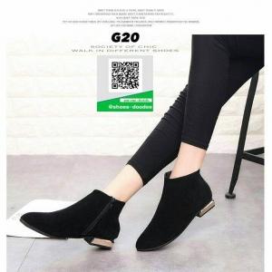 รองเท้าบูท สักหราดสั้น G20-BLK [สีดำ]