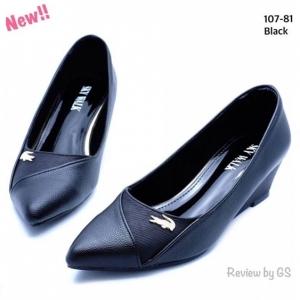 รองเท้าคัทชูส้นเตารีด หัวแหลม (สีดำ )