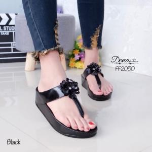 รองเท้าแตะเพื่อสุขภาพสีดำ แบบคีบ ดอกไม้สีเมทาลิก (สีดำ )