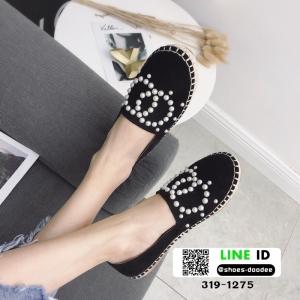 รองเท้าผ้าใบ Chanel Pearl Espadrilles 319-1275-BLK [สีดำ]
