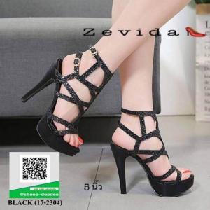 รองเท้าส้นสูง ลายกลิตเตอร์ เกาหลี 17-2304-BLACK [สีดำ]