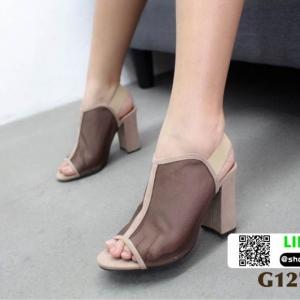 รองเท้าส้นตัน สไตล์เก๋ G1276-BWN [สีBWN]