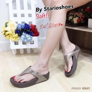 รองเท้าแตะเพื่อสุขุภาพสีเทา หูหนีบ style fitflop (สีเทา )
