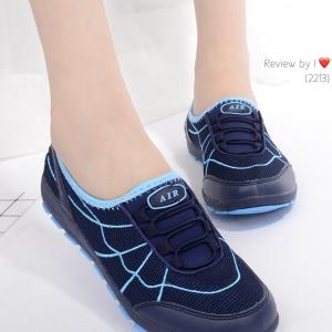 รองเท้าผ้าใบผู้หญิง เพื่อสุขภาพ แบบสวม น้ำหนักเบา STYLE SKECHER (สีน้ำเงิน )