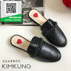 รองเท้าแตะส้นเตี้ยสีดำ slipper (สีดำ )