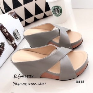 รองเท้าเตารีดหน้าไขว้ 981-88-เทา [สีเทา]