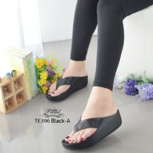 รองเท้าแตะเพื่อสุขภาพสีดำ แบบคีบ ดีเทลสายติดคริสตรัล (สีดำล้วน )