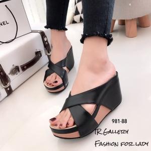 รองเท้าเตารีดหน้าไขว้ 981-88-ดำ [สีดำ]