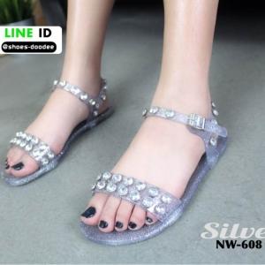 รองเท้าแตะยางรัดข้อ ใส คาดเพชร NW-608-SIL [สีเงิน]