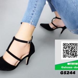 รองเท้าส้นเข็มสีดำ รัดข้อ T-strap (สีดำ )