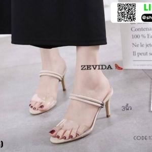 รองเท้าส้นสูง วัสดุหนังกำมะหยี่ 17-4092-CRM [สีครีม]