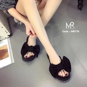รองเท้าแตะเพื่อสุขภาพสีดำ เปิดส้น แต่งโบว์ใหญ่ (สีดำ )