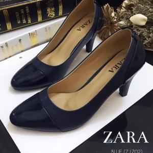 รองเท้าส้นสูงสีน้ำเงิน รองเท้าสไตล์งานซ่าร่า มาพร้อมพื้นตีแบรนด์ ส้นสูง3นิ้ว ทำจากหนังนิ่ม