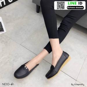รองเท้าคัชชูงานหนังแท้ นิ่มมากๆ N010-BLK [สีดำ]