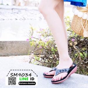 รองเท้าส้นเตี้ย พียู แบบหนีบ SM9034-BLK [สีดำ]