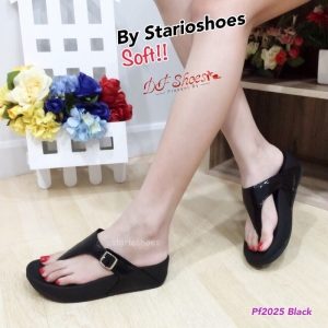 รองเท้าแตะเพื่อสุขุภาพสีดำ หูหนีบ style fitflop (สีดำ )