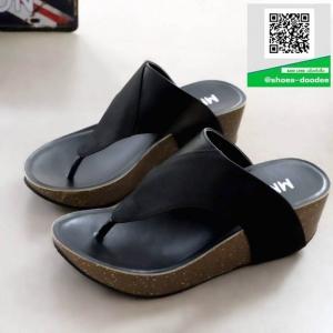 รองเท้าส้นเตารีดแบบสวมสีดำ เปิดส้น หูคีบ (สีดำ )