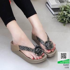 รองเท้าสุขภาพสไตล์ฟิทฟลอบ แต่งดอกคามิเลีย 119-ทอง [สีทอง]