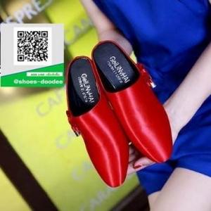 รองเท้าส้นตันเปิดส้นสีแดง แบบสวม สไตล์เกาหลี (สีแดง )