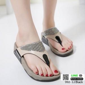 รองเท้าสุขภาพแบบใหม่เทรนด์เกาหลี 992-12-ดำ [สีดำ]