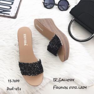 รองเท้าเตารีด แบบสวมหน้าวิ้ง 15-7699-ดำ [สีดำ]