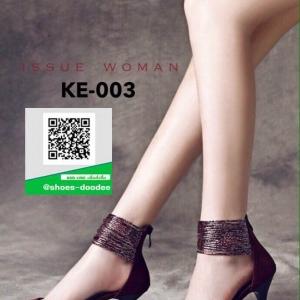 รองเท้าส้นเข็ม พันข้อเล่นลาย KE-003-RED [สีแดง]