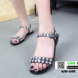 รองเท้าแตะยางรัดข้อ ใส คาดเพชร NW-608-BLK [สีดำ]
