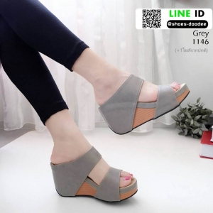 รองเท้าเตารีด Wedge shoe 2 ตอนหุ้มส้น 1146-เทา [สีเทา]