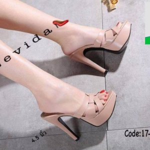 รองเท้าส้นสูงสวมสไตล์แบรนด์ดัง 17-2314-PNK [สีชมพู]