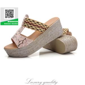 รองเท้าส้นเตารีดแบบสวมสีชมพู เปิดส้น ทรงslope (สีชมพู )