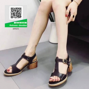 รองเท้าส้นตันรัดส้นสีดำ หนังนิ่ม ทรงสวย (สีดำ )