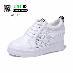 รองเท้าสวมส้นสูงหนัง pu AY077-WHI [สีขาว]