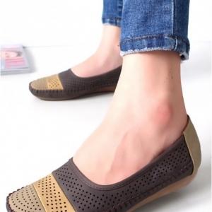 รองเท้าคัชชู สไตล์สุขภาพ หนังนิ่ม (สีน้ำตาล )