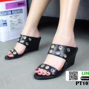 รองเท้าลำลองส้นเตารีดหนังนิ่ม PT107-BLK [สีดำ]
