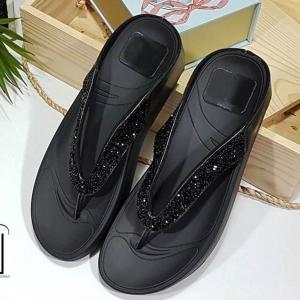 รองเท้าแตะเพื่อสุขภาพสีดำ แบบคีบ พื้น Soft Comfort (สีดำ )