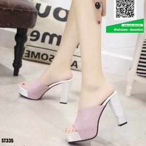 รองเท้าส้นสูง ส้นแท่งแบบสวม ST335-PNK [สีชมพู ]