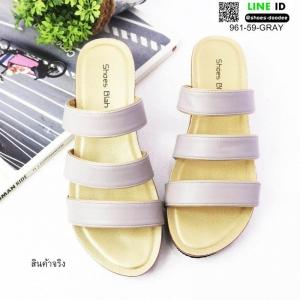 รองเท้าส้นเตารีดสีพาสเทล สวยๆเกร๋ๆ 961-59-GRAY [สีเทา]