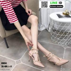 รองเท้าคัชชูส้นเข็มเปิดส้น งานสไตล์valentino K9014-PNK [สีชมพู ]