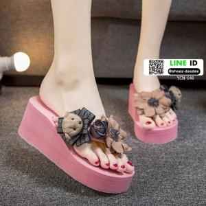 รองเท้าแตะส้นเตารีด ตุ๊กตาหมี YCN-146-PNK [สีชมพู ]