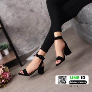 รองเท้าส้นตันสไตล์รัดส้น งานกำมะหยี่ G12-19B3-BLK [สีดำ]