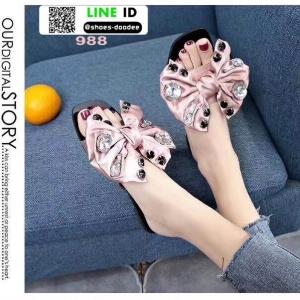 รองเท้าแตะสวม หน้าผูกโบซาติน 988-PNK [สีชมพู ]