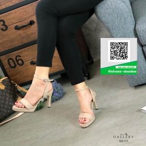 รองเท้าส้นเข็มรัดส้นสีครีม หนังZaffino (สีครีม )