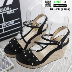 รองเท้าส้นเตารีดสวยเกร๋ 15198-BLACK [สีดำ]