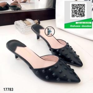 รองเท้าส้นเข็มสีดำ หัวแหลม เปิดส้น (สีดำ )